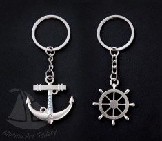 Anchor and steering wheel, key chain